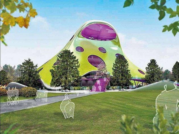 Futuristickému návrhu knihovny vévodí jeho zelená barva.