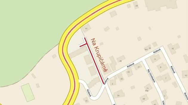 Zákres nové ulice do mapy.