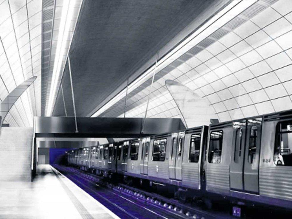 interiér stanice metra Pankrác z dílny Daniela Mochnackého