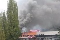 Požár písnické tržnice.