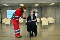 Metropolitní očkovací centrum v pražském Kongresovém centru bylo představeno 17. března 2021 novinářům.