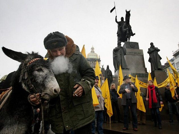 Na sto podpůrců monarchie se sešlo 8. ledna na Václavském náměstí v Praze k tradičnímu Tříkrálovému pochodu za monarchii.
