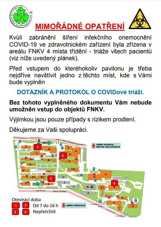 Testovací místo pacientů s podezřením na infekci COVID-19, kterou způsobuje nový typ koronaviru, ve Fakultní nemocnici Královské Vinohrady.