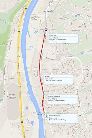 Mapka průjezdu pražské tramvaje smrti.