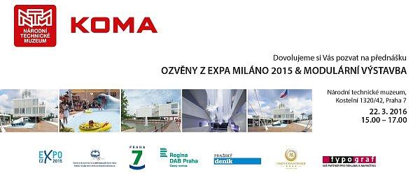 Pozvánka na Ozvěny zExpa Miláno 2015 & modulární výstavba vNárodním technickém muzeu vPraze.
