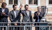 Slavnostní zahájení prvního ročníku tenisového Laver Cupu, které se konalo 20. září na Staroměstském náměstí v Praze. Alexander Zverev, Roger Federer, Rafael Nadal, Bjorn Borg