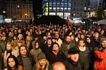 Lidé si připomněli V. Havla na Václavském náměstí.