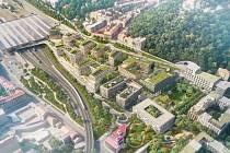 Vizualizace projektu Smíchov City Jih. Součástí projektu má být i základní škola.