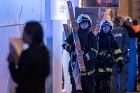 Hasiči a záchranáři zasahovali 20. ledna při požáru hotelu Eurostars David v Náplavní ulici nedaleko Masarykova nábřeží na Novém Městě v Praze.