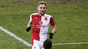 Jan Kuchta - Utkání 19. kola první fotbalové ligy: Slavia Praha - FK Pardubice.
