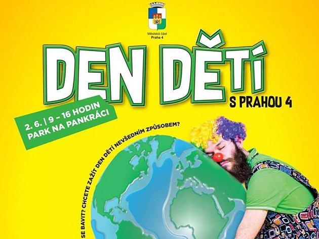 Plakát dne dětí na Praze 4.