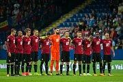 Zápas 3. kola první fotbalové ligy mezi týmy FC Slovan Liberec a AC Sparta Praha se odehrál 13. srpna na stadionu U Nisy v Liberci. Na snímku základní sestava Sparty před začátkem utkání.
