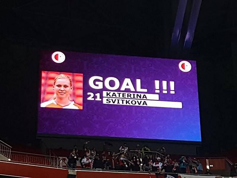 Jediný gól slávistického týmu v Lyonu zaznamenala v první půli vítězka ankety Fotbalistka roku 2015 Kateřina Svitková.