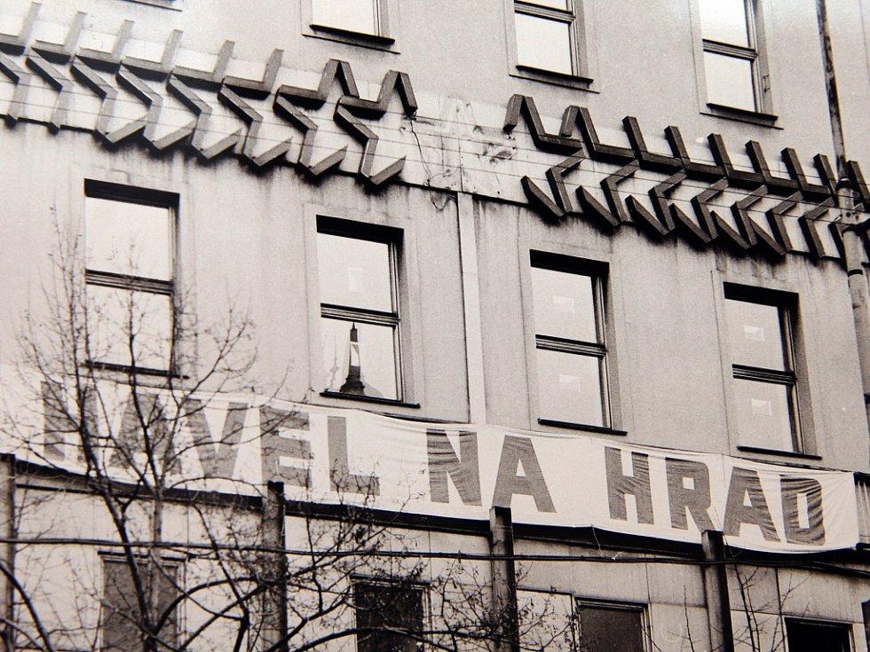 Sametová revoluce v Praze.