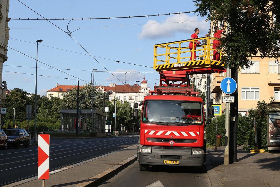 Spadlý strom dočasně uzavřel část Vinohradské ulice a přilehlé Sady Svatopluka Čecha.