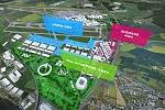 Vizualizace budoucí podoby letiště v Ruzyni. Airport City Jih.