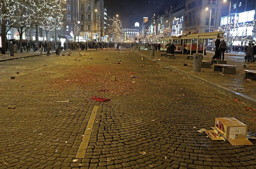 Oslavy Silvestra na Václavském náměstí.