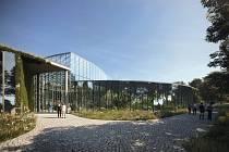Botanická zahrada - vizualizace dostavby vstupního areálu sever - směr od Bohnic.