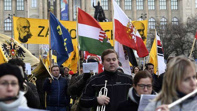 Tříkrálový pochod za monarchii se sešel na Václavském náměstí.