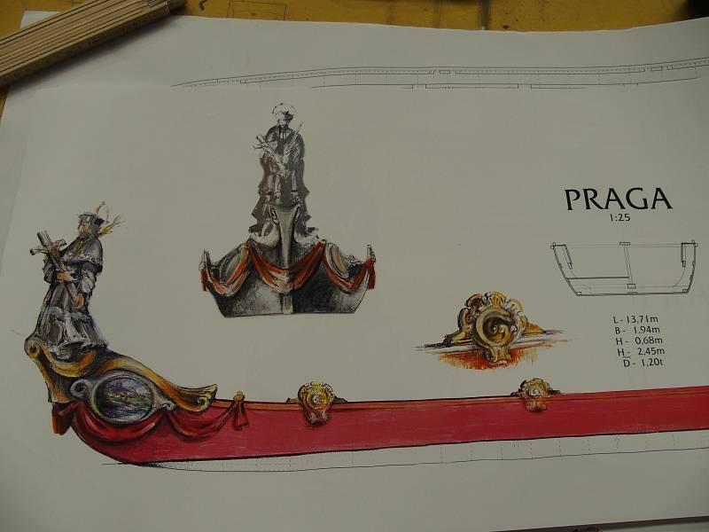 Detail navrhované výzdoby lodi Praga se sochou sv. Jana Nepomuckého na přídi.