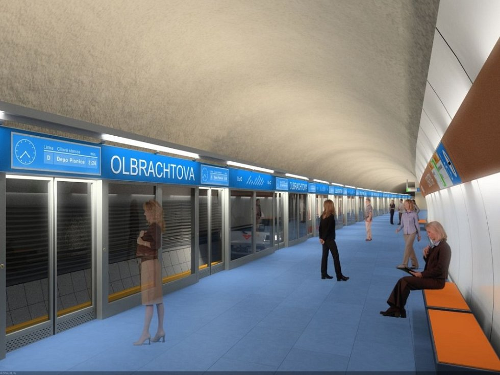 Návrh podoby stanice metra trasy D - Návrh podoby stanice metra trasy D - Olbrachtova
