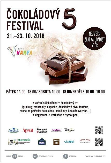 Pozvánka na Čokoládový festival vGalerii Harfa vPraze.