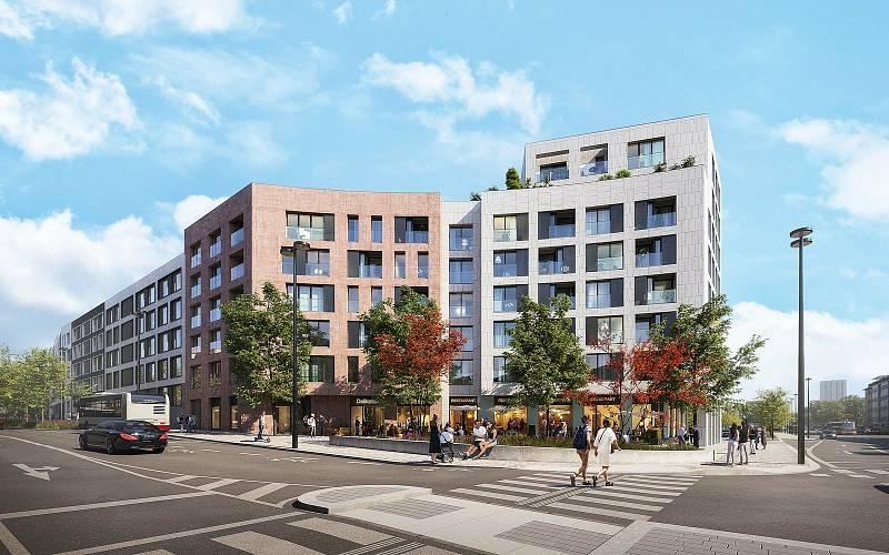 Návrh nárožního bytového domu, projekt obytného souboru Parková čtvrť.