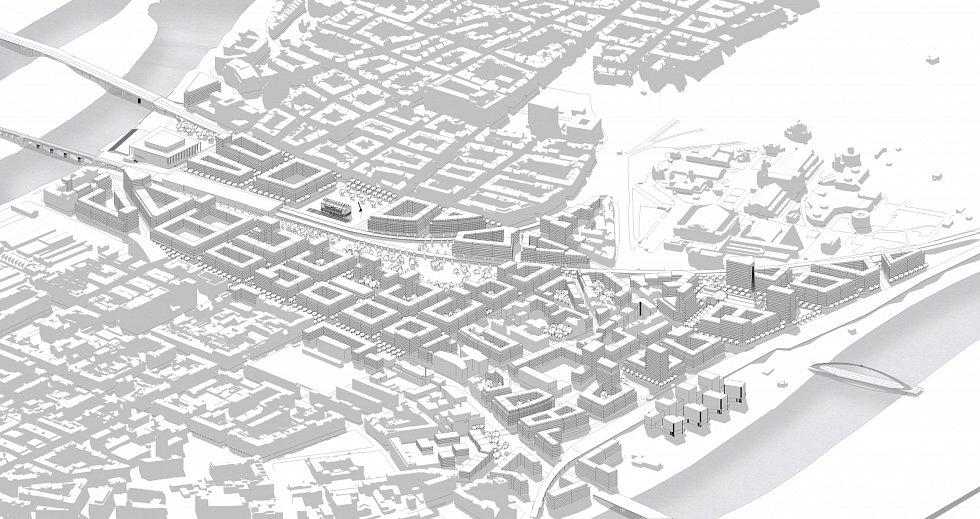 Pohled od severovýchodu na možnou podobu nové čtvrti. Magistrála povede současnou stopou v ulici Argentinská na východní straně – nově by měla být kryta trojitým stromořadím, aby došlo ke zmírnění hluku, snížení teploty ulice a redukci exhalací ze spalo