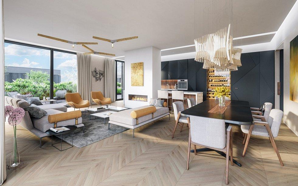 Vizualizace areálu Maison Ořechovka. Velký obývací pokoj.