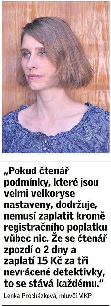 Citát mluvčí Městské knihovny vPraze Lenka Procházková.