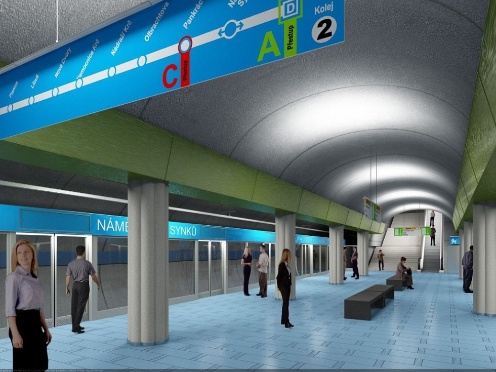 Návrh podoby stanice metra trasy D - Náměstí bratří Synků.