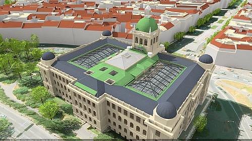 Letecký pohled na budovu po rekonstrukci.