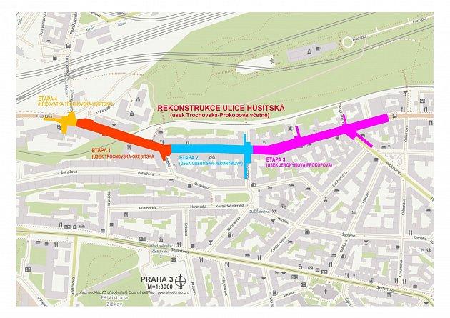 Rekonstrukce Husitské ulice. Mapa.
