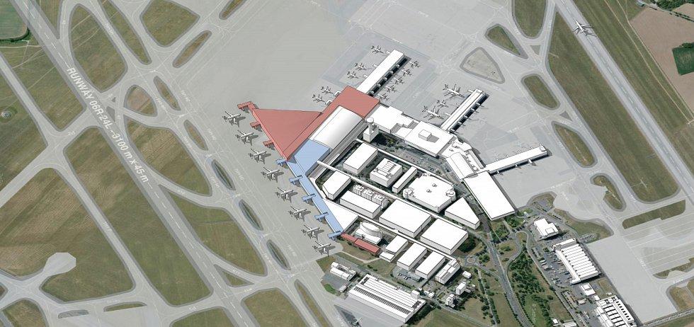Vizualizace budoucí podoby letiště v Ruzyni. Etapa II centrální část Terminálu 2.