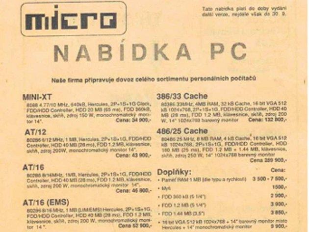 výběr zceníku počítačů zroku 1990
