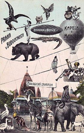 Budoucnost pražské zoologické zahrady ztvárněná na dobové pohlednici.