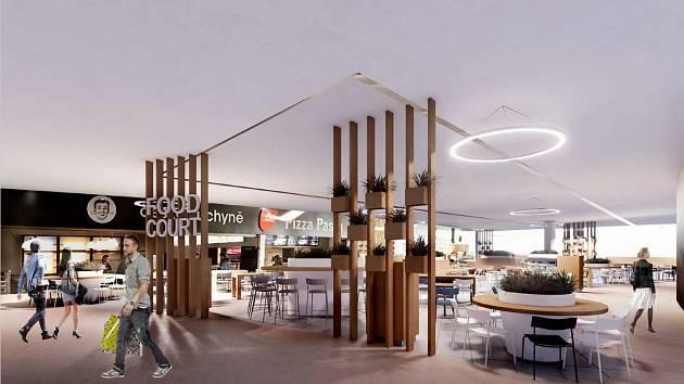 Food court v OC Šestka - vizualizace.