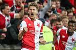 Zápas 7. kola Het ligy mezi Sparta Praha a Slavia Praha, hraný 17. září v Praze. Milan Škoda dává první gól Slavie.