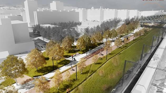 V západní části povede Drážní promenáda Vršovicemi (úsek podél ulice U Seřadiště z nadhledu).