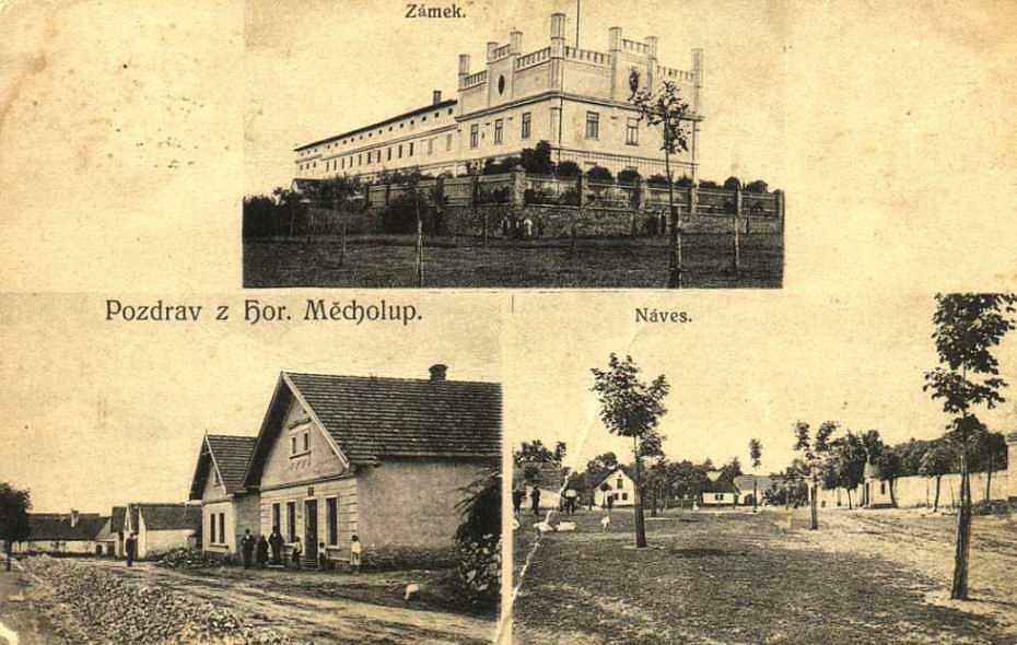 Pohlednice. Dnešní Horní Měcholupy nemají se starými pohlednicemi příliš společného. Největší ztrátou je jistě zámek, který byl zbourán.
