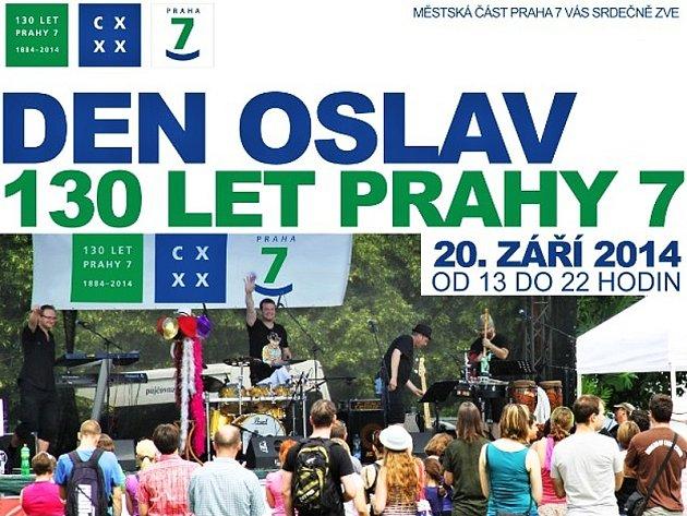 Část grafické pozvánky na Den oslav u příležitosti 130 let Prahy 7.