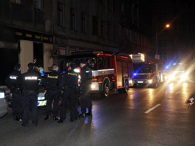 Požár v Husitské ulici.