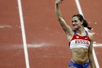 Tyčkařka Yelena Isinbayeva na Mítinku šampiónů v pražské O2 Areně 26. února v Praze.