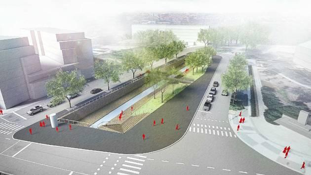 Vizualizace nové podoby Elsnicova náměstí.