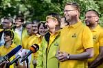 KDU-ČSL zahájila 5. září v Praze ostrou kampaň před podzimními sněmovními volbami. Na snímku Pavel Bělobrádek a Marian Jurečka.