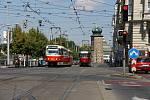 Jedna z nejvytíženějších tramvajových křižovatek - Palackého náměstí.