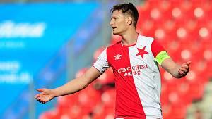 Fotbalové utkání HET ligy mezi celky SK Slavia Praha a 1. FC Slovácko 29. dubna v Praze. Milan Škoda.