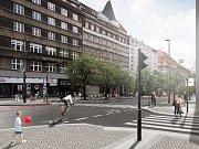 Vizualizace nové podoby Vinohradské ulice.