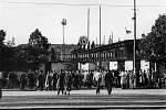Stadion Ďolíček v Praze Vršovicích. 50. léta.