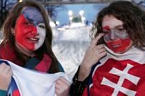 Fanoušci v Olympijském parku Letná v Praze při hokejovém zápase Česka a Slovenska.